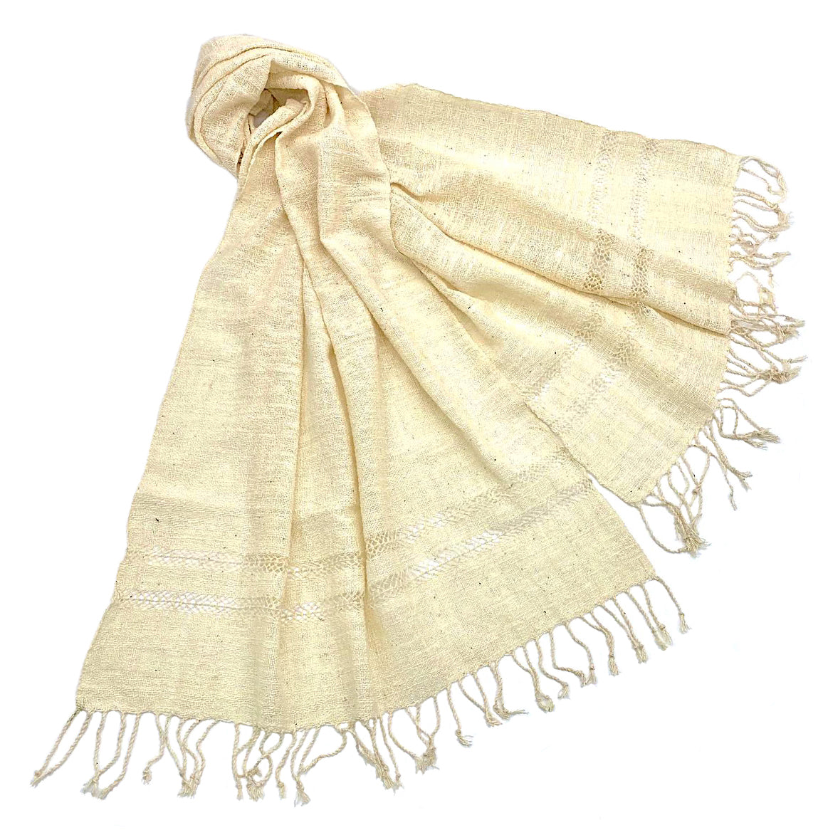 """Nai Yang"" Cotton Wraps in White & Marigold"