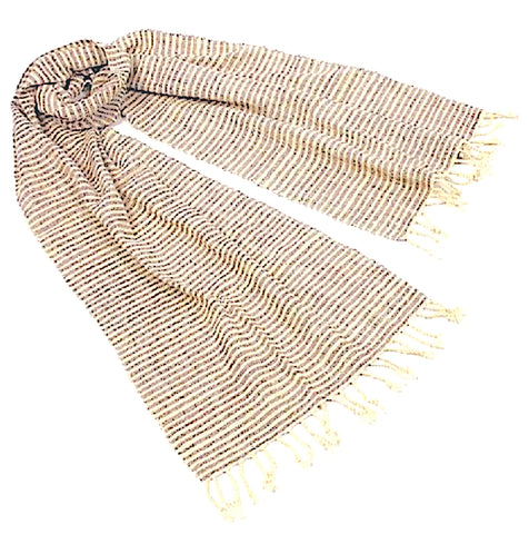 """Shoreline"" Scarf- with BROWN horizontal pinstripes"