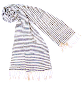 """Shoreline"" Scarf or Table Runner w/ Blue Pinstripes"