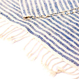 """Shoreline"" Scarf- with BLUE horizontal pinstripes"
