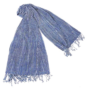 """Shoreline Pinstripes"" Cotton Scarf/Wrap (plus optional face mask)"