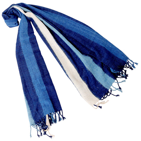 """Sky"" Throw with Bands of Indigo"