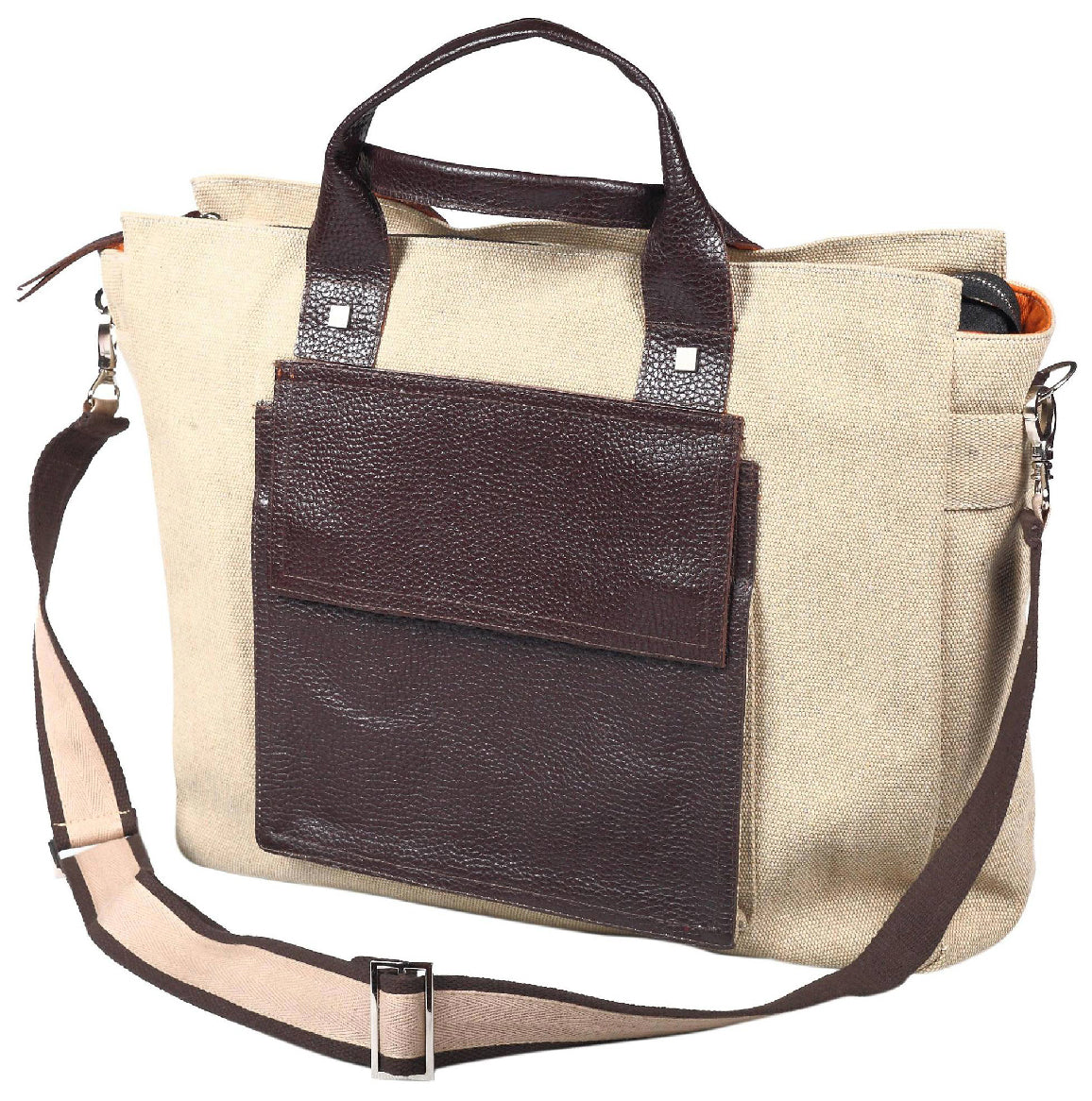 """TND"" Messenger Bag w/ leather front pocket"