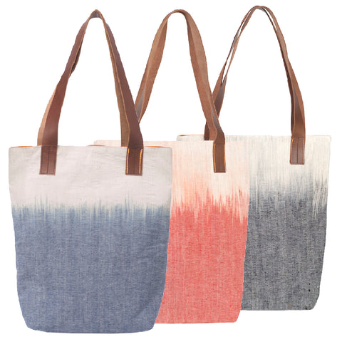 """Waves"" Tote, Large w/ leather straps"