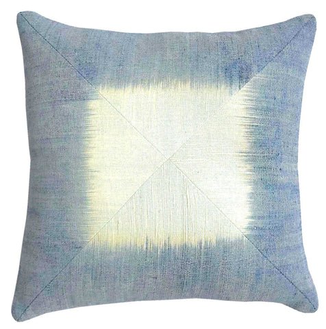 """Waves"" 18"" Pillow Cover w/ Ikat Border"