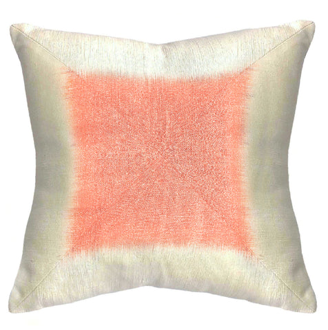 """Waves"" 18"" Pillow Cover with Ikat Center"