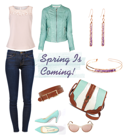 spring outfit with rose gold earrings and bracelet