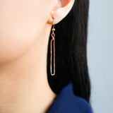 Rose Gold Rectangle Dangle Earrings