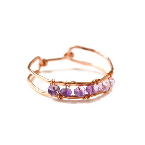 Sunrise Gem Ring - Rose Gold Band Ring with Purple Ombre Amethyst