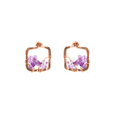 Rose Gold Square Stud Earrings With Ombre Purple Amethyst