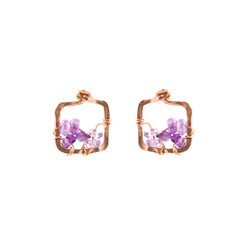 Dawn Gem Earrings - Rose Gold Square Stud Earrings With Ombre Purple Amethyst
