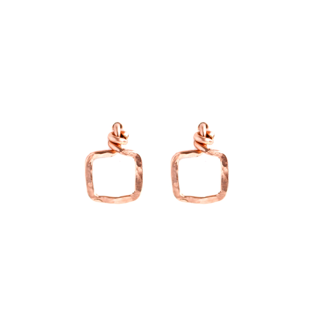 Small Square Rose Gold Stud Earrings
