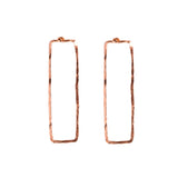 Hammered Rose Gold Rectangle Stud Earrings