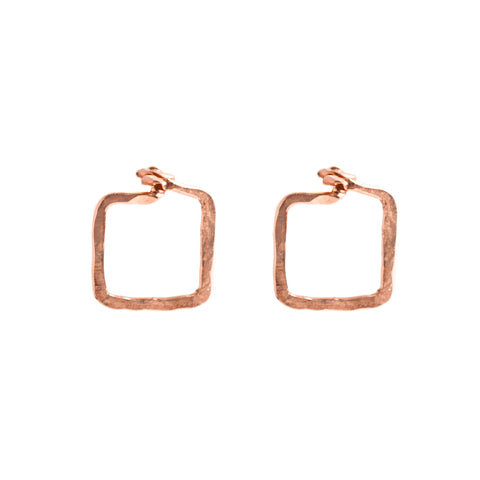 Dawn Earrings - Rose Gold Square Stud Earrings