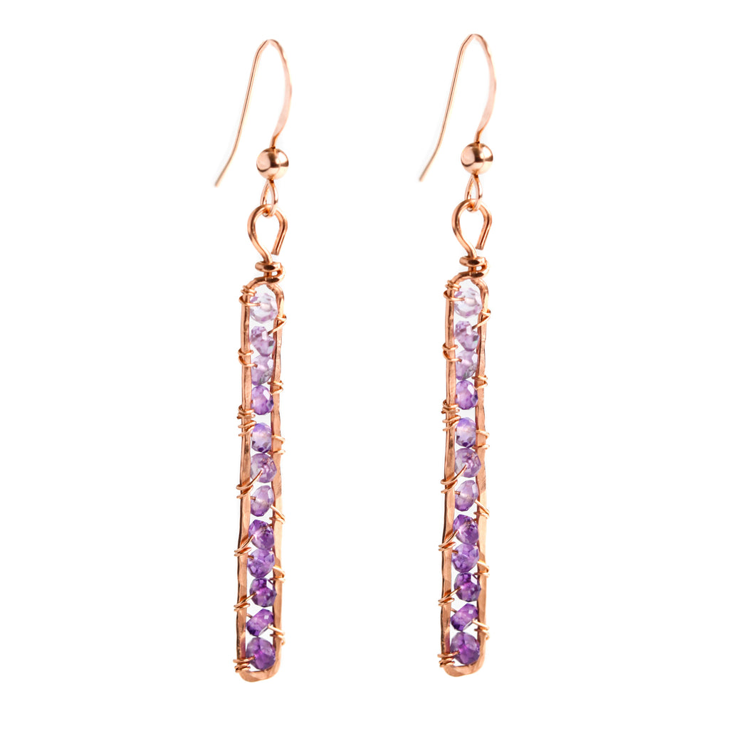 Rose Gold Rectangle Dangle Earrings with Ombre Purple Amethyst