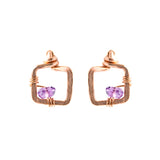 Small Rose Gold Stud Earrings with Purple Amethyst