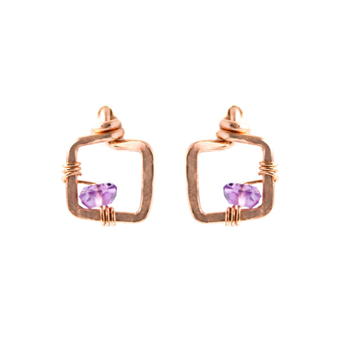 Mini Dawn Gem Earrings - Small Rose Gold Stud Earrings with Purple Amethyst