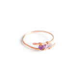 Rose Gold Bypass Ring with Ombre Purple Amethyst