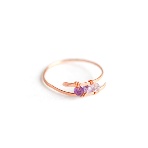 Dusk Ring - Rose Gold Bypass Ring with Ombre Purple Amethyst