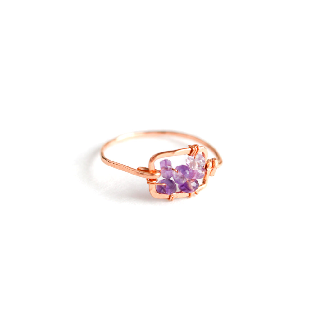 Rose Gold Hammered Square Ring with Ombre Purple Amethyst