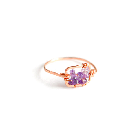 Dawn Gem Ring - Rose Gold Hammered Square Ring with Ombre Purple Amethyst