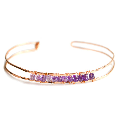 Sunrise Gem Bangle - Rose Gold Bangle with Ombre Purple Amethyst