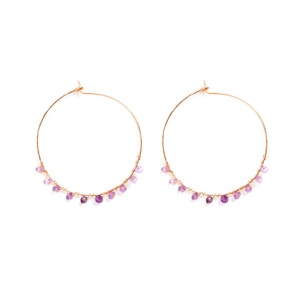 Rose Gold Hoops with Ombre Purple Amethyst