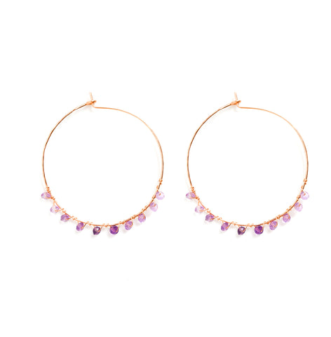 Dusk Hoop Earrings - Rose Gold Hoops with Ombre Purple Amethyst