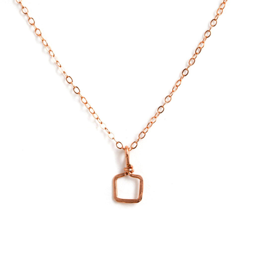 Rose Gold Necklace with Tiny Square Pendant