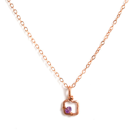 Mini Dawn Gem Necklace - Rose Gold Necklace with Tiny Square Pendant