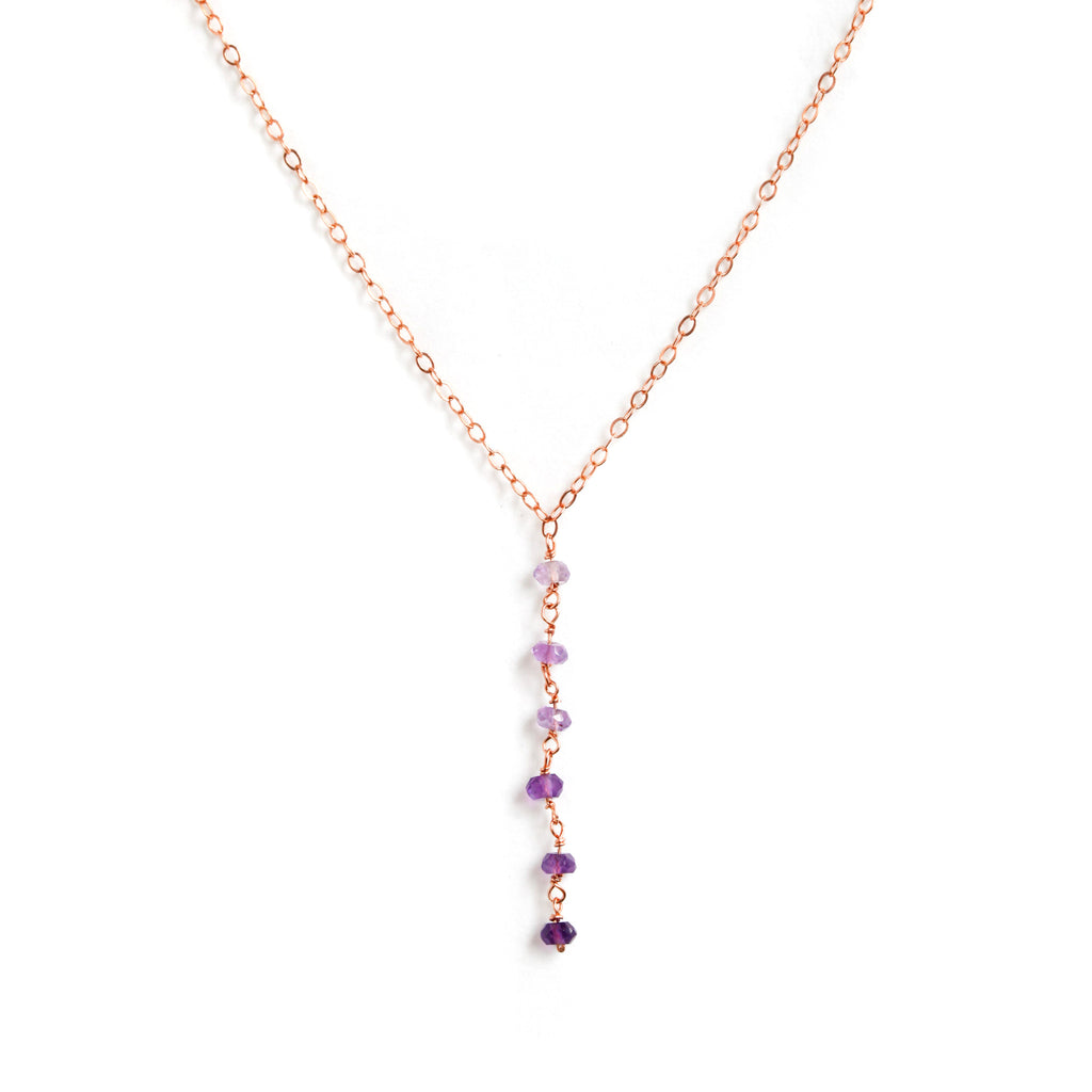 Rose Gold Y Necklace with Ombre Purple Amethyst