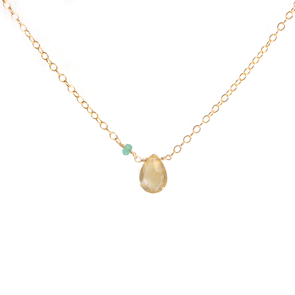 Ti Simple Necklace - Gold & Citrine, Green Onyx