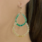 Hawaii Chandelier Earrings - Gold & Citrine, Green Onyx
