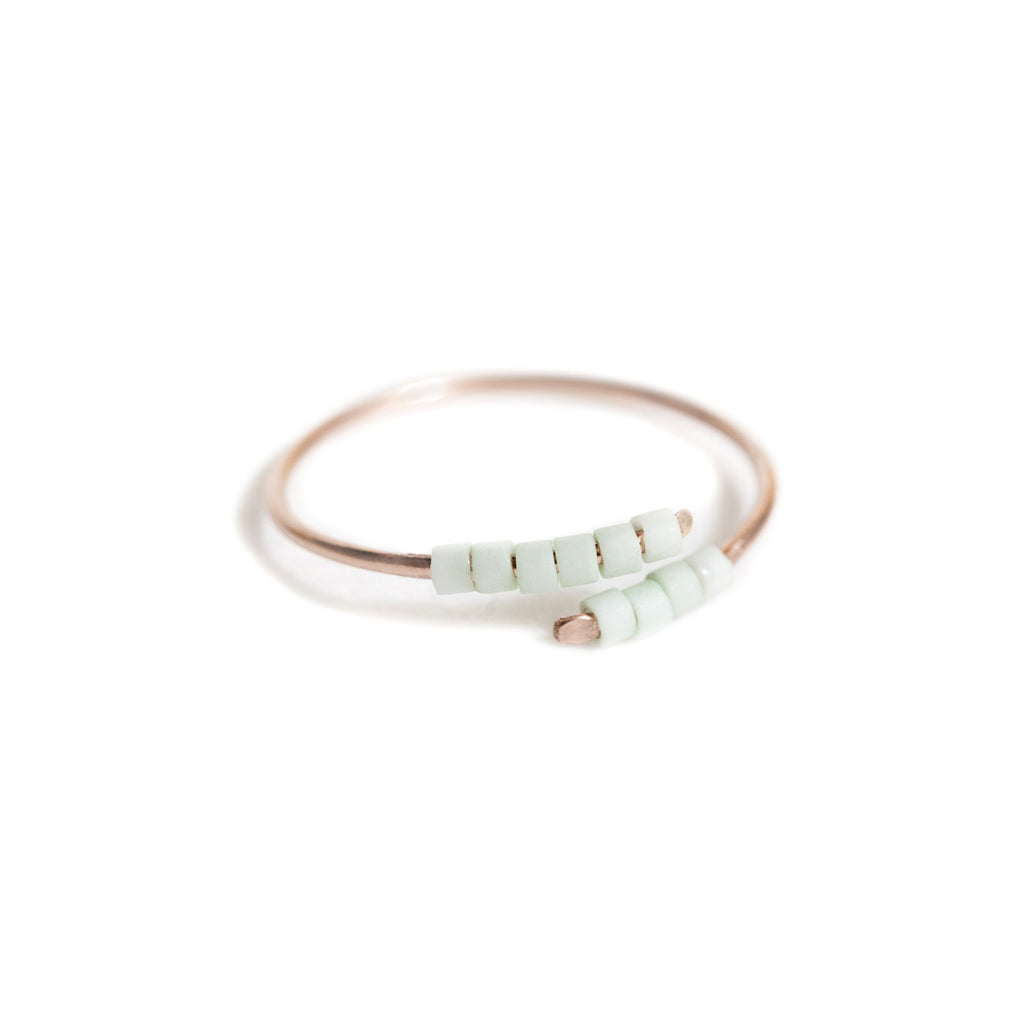 Baton Ring - Rose Gold and Miyuki Glass Bead Ring
