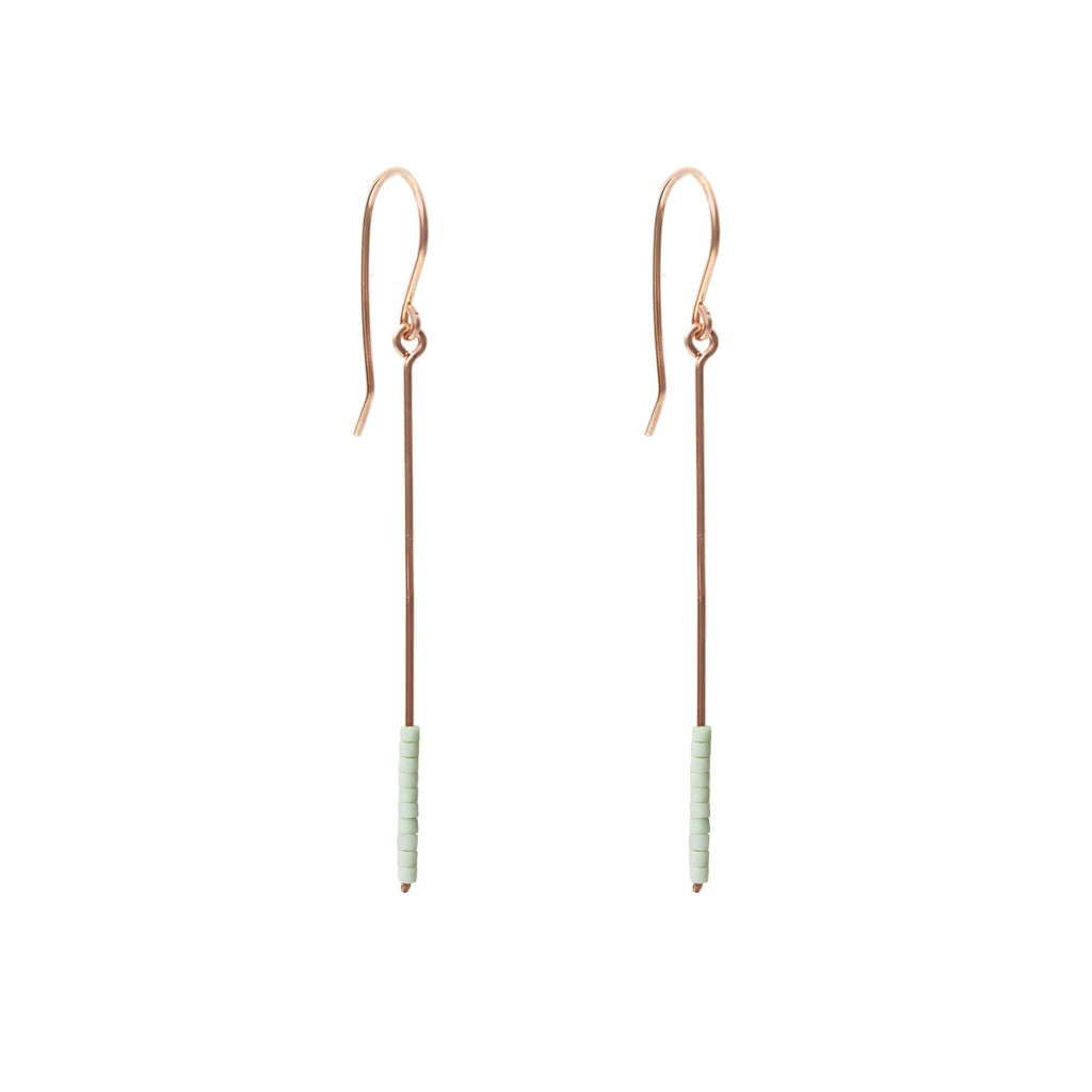 Baton Earrings - Rose Gold and Miyuki Glass Bead Earrings