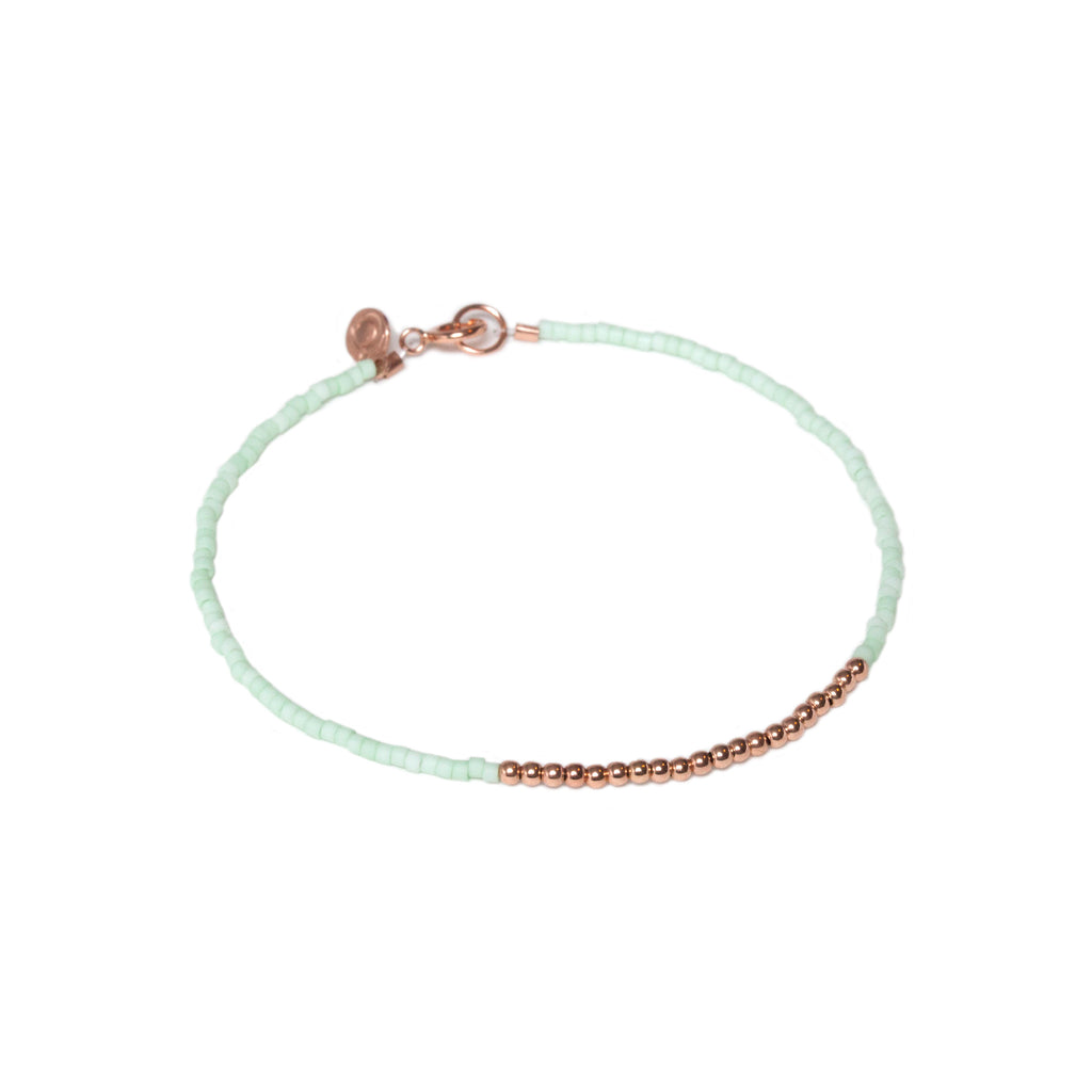 Bubble Bracelet - Rose Gold and Miyuki Glass Bead Bracelet