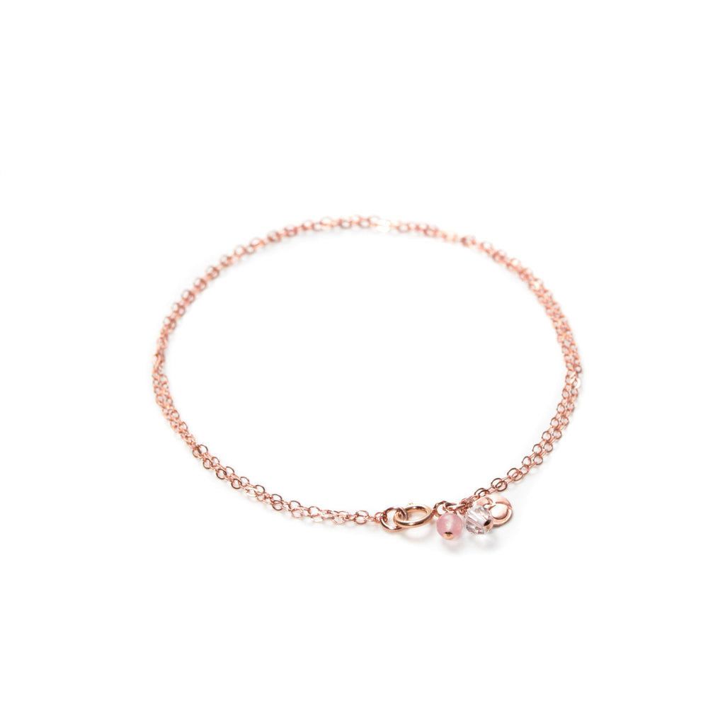 Double Rose Gold Bracelet with Rose Quartz and Swarovski Crystal Charms