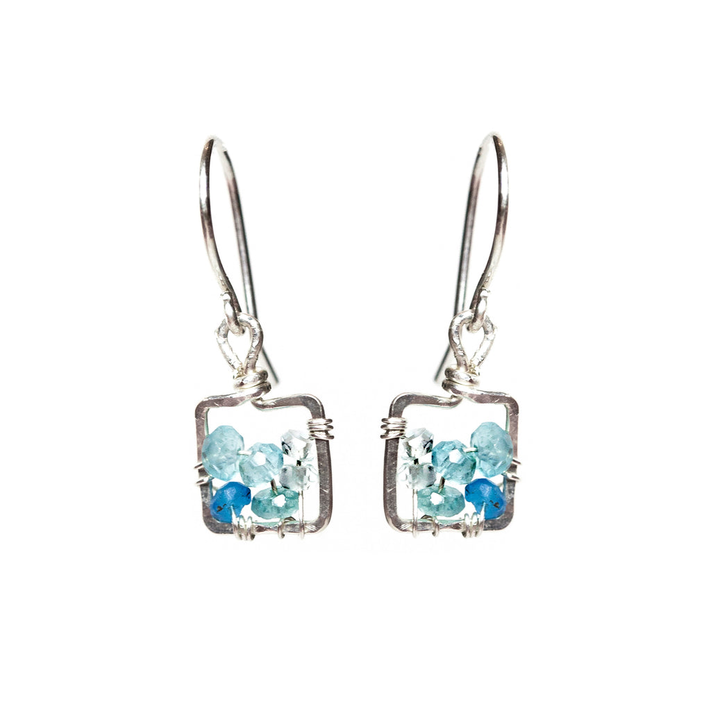 Dawn Gem Dangle Earring - Sterling Silver and Blue Apatite