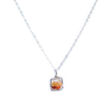 Dawn Gem Necklace - Silver Necklace Square Fire Opal Pendant
