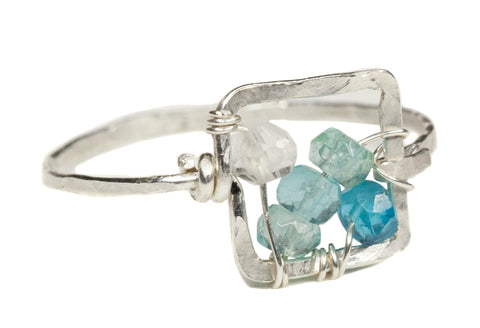 Dawn Gem Ring - Sterling Silver Square Ring with Blue Ombre Apatite