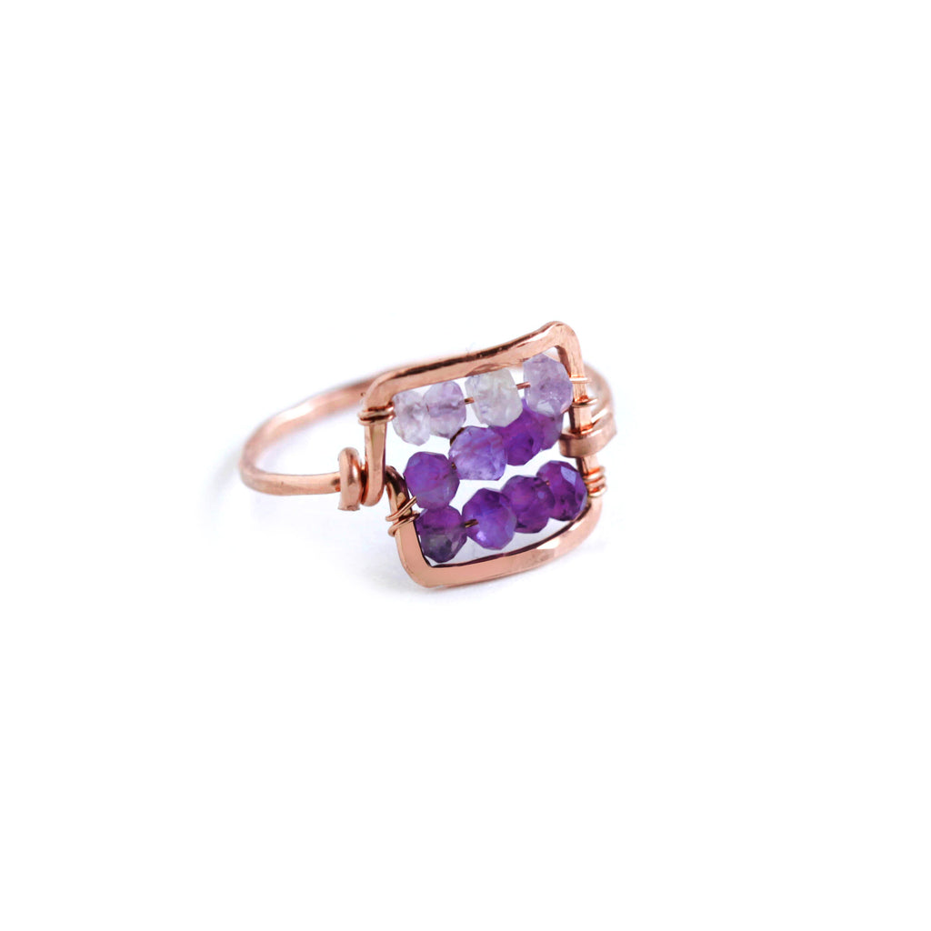 Dawn Gem Statement Ring - Rose Gold Hammered Square Ring with Ombre Purple Amethyst