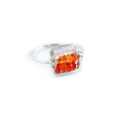Dawn Gem Statement Ring - Silver Hammered Square Ring with Ombre Orange Fire Opal