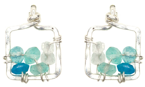 Dawn Gem Earrings - Sterling Silver and Blue Apatite