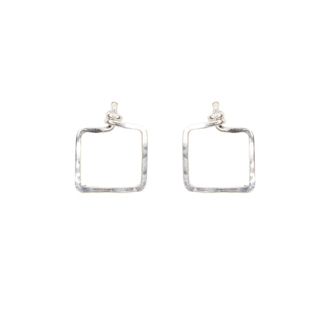 Dawn Earrings - Sterling Silver Square Stud Earrings