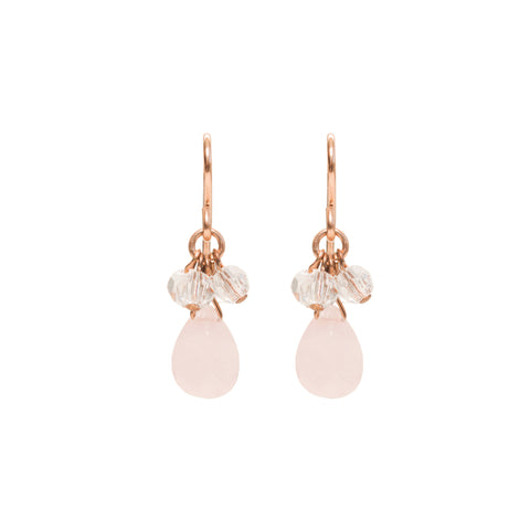 Dewdrop Earrings - Rose Gold & Rose Quartz Teardrop Dangle Earrings