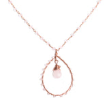 Long Rose Gold Teardrop Necklace with Rose Quartz and Swarovski Crystals