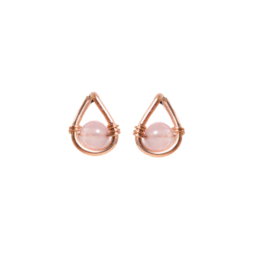 Rose Gold Teardrop Stud Earrings with Rose Quartz