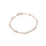 Double Rose Gold Bracelet with Rose Quartz and Swarovski Crystals