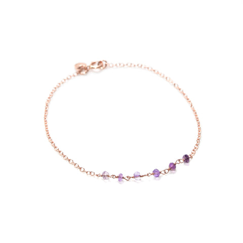 Dusk Bracelet - Thin Rose Gold Bracelet with Ombre Purple Amethyst