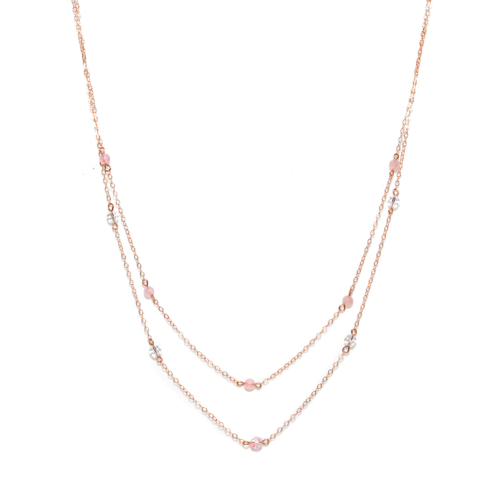 Long Double Necklace with Rose Gold Rose Quartz Swarovski
